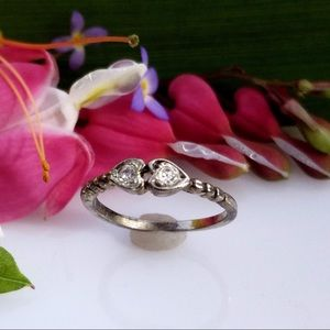 Rare Vintage Sterling Silver Double Hearts Ring